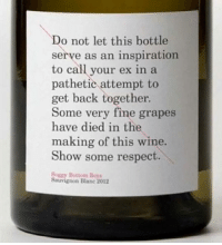 Soggy Bottom: Do not let this bottle  serve as an inspiration  to call your ex in a  pathetic attempt to  get back together.  Some very fine grapes  have died in the  making of this wine.  Show some respect.  Soggy Bottom Boys  Sauvignon Blanc 2012