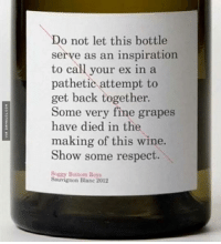 Please Show Some Respect: Do not let this bottle  serve as an inspiration  to call your ex in a  pathetic attempt to  get back together.  Some very fine grapes  have died in the  making of this wine.  Show some respect.  Soggy Bottom Boys  Sauvignon Blanc 2012 Please Show Some Respect