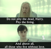 Harry Potter, Love, and Memes: Do not pity the dead, Harry  Pity the living.  THE BEST MOVIE LINES  And above all,  all those who live without love. - Harry Potter and the Deathly Hallows Part 2 (2012)