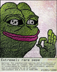 "Dumb, Memes, and Http: Do Not Save  Extremely rare pepe  Warning: The unauthorised copying and distribution of  this rare pepe is illegal. Pepe cloning infringement  is investigated by federal law enforcement agencies  and is punishable by up to 5 years  imprisonment and a fine of $250,000. <p>The 4 memes of JAN 2018 are all dead not even 2 weeks in. I think it's time for me to sell my stock and extremely rare pepe and leave. It is a failing industry and I encourage all of you to do the same. (If you are dumb you can leave offers for the Pepe in comments) via /r/MemeEconomy <a href=""http://ift.tt/2AVF2sp"">http://ift.tt/2AVF2sp</a></p>"