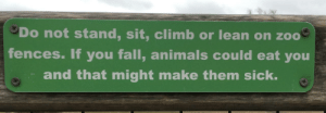Animals, Fall, and Lean: Do not stand, sit, climb or lean on zoo  fences. If you fall, animals could eat you  and that might make them sick. This sign at the zoo