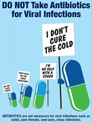 Help, Sore Throat, and Cold: DO NOT Take Antibiotics  for Viral Infections  DON'T  CURE  THE COLD  I'M  NO HELP  WITH A  COUGH  DON'T NEED  ME FOR  SINUS  INFECTIONS  NOT FOR  A SORE  THROAT  ANTIBIOTICS are not necessary for viral infections such as  colds, sore throats, sore ears, sinus infections. Worth repeating since many out there don't know the difference
