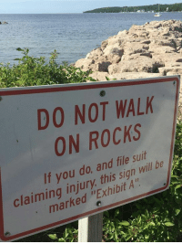 "Memes, 🤖, and Will: DO NOT WALK  ON ROCKS  If you do, and file suit  marked ""Exhibit A  claiming injury, this sign will be ""Exhibit A"""