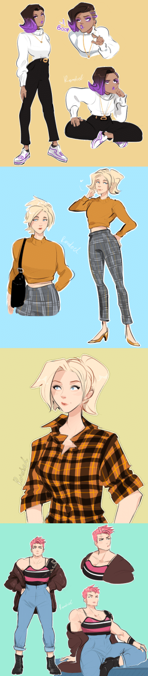 rondoel:  While practicing drawing fashion I discovered these three good-looking combinations:- sombra / black  white- angela / plaid- zarya / anything: do rondoel:  While practicing drawing fashion I discovered these three good-looking combinations:- sombra / black  white- angela / plaid- zarya / anything