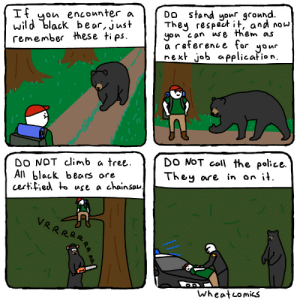 Bear Facts [OC]: DO stand yonr gcound.  They respect it, and now  yon can use them as  reference for yonr  next job applicafion.  ityon enconnter a  wild black be ar, just  remember these tips  DO NOT call the police.  They are in on it.  DO NOT climb a tree  Aji black bears ore  certfied to use a chainsau.  VRRRRR  Wheatcomics  RA AA Bear Facts [OC]
