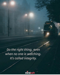 Memes, Integrity, and Do the Right Thing: Do the right thing, even  when no one is watching  It's called integrity.  mindwaft