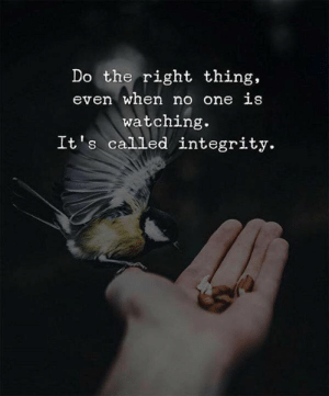 Do the Right Thing: Do the right thing,  even when no one LS  watching.  It s called integrity.