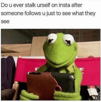 Memes, Girl, and 🤖: Do u ever stalk urself on insta after  someone follows u just to see what they  see 👀 Follow my girl @thespeckyblonde @thespeckyblonde @thespeckyblonde