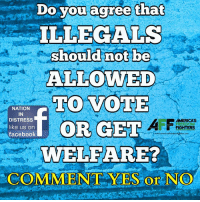 welfare: Do vou acree that  ILLEGALS  should not be  ALLOWED  TO VOTE  NATION  IN  DISTRESS  like us on  facebook  AMERICAS  FIGHTERS  WELFARE?