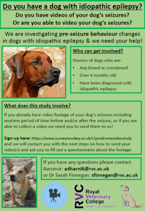 New Study Looking for Epi Warrior's Video Footage🐾💜: Do vou have a dog with idiopathic epilepsy?  Do you have videos of your dog's seizures?  Or are you able to video your dog's seizures?  We are investigating pre-seizure behaviour changes  in dogs with idiopathic epilepsy & we need your help!  Who can get involved?  Owners of dogs who are  Any breed or crossbreed  .Over 6 months old  Have been diagnosed with  idiopathic epilepsy  What does this study involve?  If you already have video footage of your dog's seizures including  anytime period of time before and/or after the seizure, or if you are  able to collect a video we need you to send them to us!  Sign-up here: https://www.surveymonkey.co.uk/r/prodromevideostudy  and we will contact you with the next steps on how to send your  video(s) and ask you to fill out a questionnaire about the footage  If you have any questions please contact  Aaronvir: adharni6@rvc.ac.uk  or Dr Sarah Finnegan: sfinnegan@rvc.ac.uk  Royal  Veterinary  College  University of London New Study Looking for Epi Warrior's Video Footage🐾💜