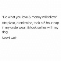 "Love, Memes, and Money: ""Do what you love & money will follow""  Ate pizza, drank wine, took a 5 hour nap  in my underwear, & took selfies with my  dog..  Now I wait @x__antisocial_butterfly__x has the dankest memes 🔥🔥 Swipe for more 👉"