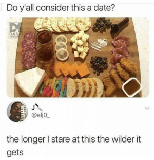 Dank, Memes, and Target: Do y'all consider this a date?  DAN  MEMEOLoa  @eljo  the longer I stare at this the wilder it  gets bold of them to assume i go on dates by GalaxyInnovation MORE MEMES