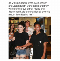 zoom in haha 😂👀 follow me (@kardashiianvideos) for more 💕: do y'all remember when Kylie Jenner  and Jaden Smith were dating and they  were coming out of that movie and  Jaden had Kylie's foundation all over his  mouth from kissing her?  @ke  rdashianrelate zoom in haha 😂👀 follow me (@kardashiianvideos) for more 💕