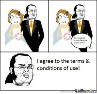 Memes, 🤖, and Usings: Do you agree  to take Derpina  as you wife?  l agree to the terms &  conditions of use!  memecenter-Com  MunetenlerAG A #Gamer's marriage.