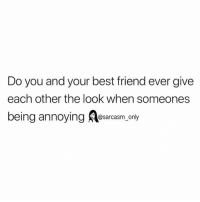 Best Friend, Funny, and Memes: Do you and your best friend ever give  each other the look when someones  being annoying osarcasm.only SarcasmOnly