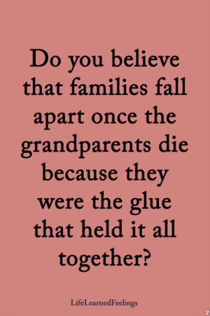 Fall, Memes, and 🤖: Do you believe  that families fall  apart once the  grandparents die  because they  were the glue  that held it all  together?  LifeLearnedFeelings <3