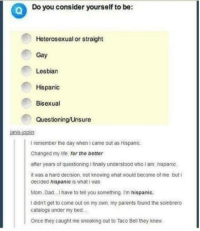 Dad, Definitely, and Memes: Do you consider yourself to be:  Heterosexual or straight  Gay  Lesbian  Hispanic  Bisexual  Questioning/Unsure  ianis-ioplin  I remember the day when I came out as Hispanic  Changed my ife, for the better  after years of questioning i finally understood who i am hispanic  it was a hard decision, not knowing what would become of me buti  decided hispanic is what iwas  Mom. Dad.I have to tell you something I'm hispanic.  I didn't get to come out on my own, my parents found the sombrero  catalogs under my bed.  Once they caught me sneaking out to Taco Bell they knew. Definitely-stolen-memes dump