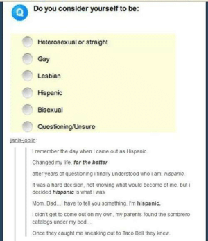Dad, Life, and Parents: Do you consider yourself to be:  Heterosexual or straight  Gay  Lesbian  Hispanic  Bisexual  Questioning/Unsure  I remember the day when I came out as Hispanic.  Changed my life, for the better  after years of questioning i finally understood who i am, hispanic  it was a hard decision, not knowing what would become of me. but i  decided hispanic is what i was  Mom. Dad.. have to tell you something I'm hispanic.  I didn't get to come out on my own, my parents found the sombrero  catalogs under my bed.  Once they caught me sneaking out to Taco Bell they knew I am Antarctican