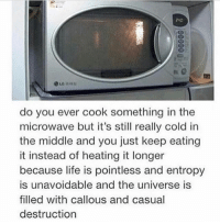 Life, Memes, and The Middle: do you ever cook something in the  microwave but it's still really cold in  the middle and you just keep eating  it instead of heating it longer  because life is pointless and entropy  is unavoidable and the universe is  filled with callous and casual  destruction Goodnight