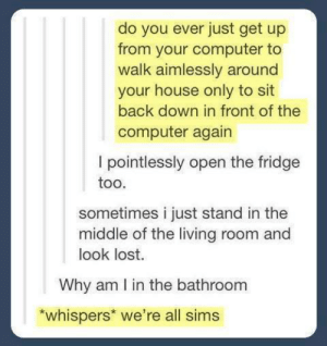 Lost, Computer, and House: do you ever just get up  from your computer to  walk aimlessly around  your house only to sit  back down in front of the  computer again  I pointlessly open the fridge  too.  sometimes i just stand in the  middle of the living room and  look lost.  Why am I in the bathroom  *whispers* we're all sims Enlightening