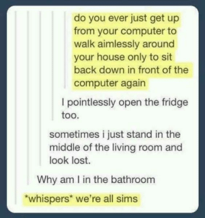 Lost, Computer, and House: do you ever just get up  from your computer to  walk aimlessly around  your house only to sit  back down in front of the  computer again  I pointlessly open the fridge  too.  sometimes i just stand in the  middle of the living room and  look lost.  Why am I in the bathroom  whispers we're all sims Were all sims