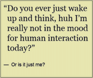"Huh, Memes, and Mood: Do you ever just wake  up and think, huh I'm  really not in the mood  for human interaction  today?""  - Or is it just me? DV6"