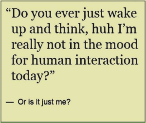 "Huh, Memes, and Mood: ""Do you ever just wake  up and think, huh I'm  really not in the mood  for human interaction  today?""  - Or is it just me? just me?"