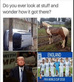 Who would have guessed by chocolat_ice_cream FOLLOW HERE 4 MORE MEMES.: Do you ever look at stuff and  wonder how it got there?  ITH  ENGLAND  STANDS WITH  TRUMP  RU  FIFA WORLDCUP 2018 Who would have guessed by chocolat_ice_cream FOLLOW HERE 4 MORE MEMES.