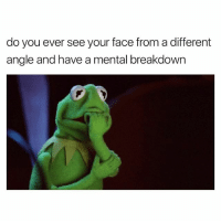 Dank Memes, Face, and Breakdown: do you ever see your face from a different  angle and have a mental breakdown Every Damn Angle. 😩