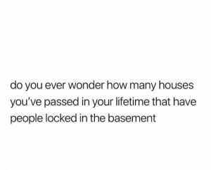 meirl: do you ever wonder how many houses  you've passed in your lifetime that have  people locked in the basement meirl