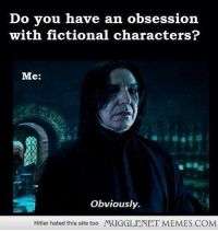 """Life, Memes, and Hitler: Do you have an obsession  with fictional characters  Me:  Obviously.  Hitler hated this site too  MUGGLENET MEMES.COM <p>Pretty much sums up my life. <a href=""""http://ift.tt/1coPqGK"""">http://ift.tt/1coPqGK</a></p>"""