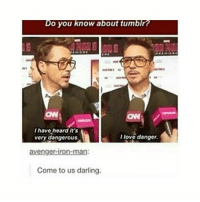 Lmfao: Do you know about tumblr?  I have heard it's  I love danger.  very dangerous  avenger-iron-man:  Come to us darling. Lmfao