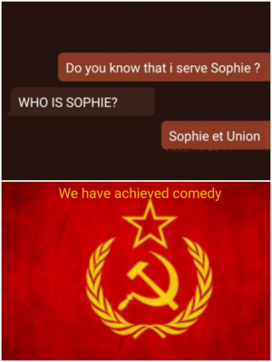 Our chat: Do you know that i serve Sophie?  WHO IS SOPHIE?  Sophie et Union  We have achieyed comedy Our chat
