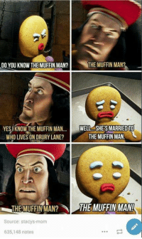 Dank, 🤖, and Source: DO YOU KNOW THE MUFFIN MAN?  THE MUFFIN MAN?  YES KNOWTHE MUFFIN MAN  WELL SHES MARRIED TO  THE MUFFIN MAN!  WHO LIVES ON DRURY LANE?  THE MUFFIN MAN? THE MUFFIN MAN!  Source: stacys mom  635,148 notes