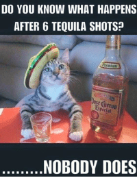 shots: DO YOU KNOW WHAT HAPPENS  AFTER 6 TEQUILA SHOTS?  Prtmium  special  NOBODY DOES