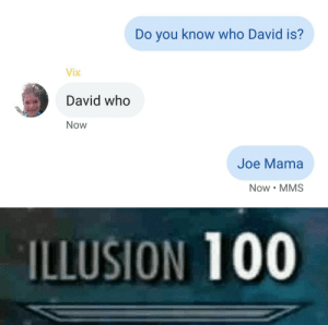 Got, Mama, and Who: Do you know who David is?  Vix  David who  Now  Joe Mama  Now MMS  ILLUSION 100 Got 'em