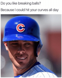 Memes, 🤖, and Bat: Do you like breaking balls?  Because could hit your curves all day If you were a baseball, and I was a bat. Would you give me a chance to choke up and smash that? (Via. @bushleague101). . . . Baseball Softball Meme Ballplayer Beautiful Poetry Girlfriend Boyfriend ValentinesDay Love Romantic Quote BushLeague Chicago Cubs KrisBryant MLB WorldSeries Champs Tag Bae