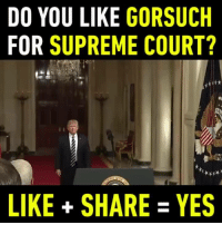 Memes, Supreme Court, and 🤖: DO YOU LIKE  GORSUCH  FOR SUPREME COURT?  LIKE SHARE YES