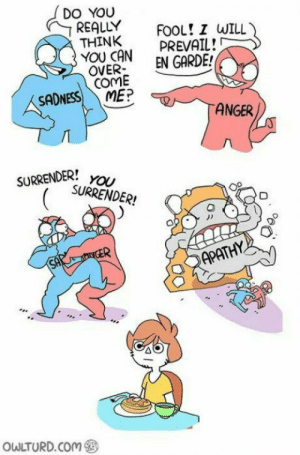 me irl: DO YOU  REALLY  THINK  YOU CAN  OVER-  COME  ME?  FOOL! I WILL  PREVAIL!  EN GARDE!  SADNESS  ANGER  SURRENDER!  YOU  SURRENDER!  CER  SAP  APATHY  OWLTURD.COM me irl