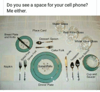 Dank, Phone, and Wine: Do you see a space for your cell phone?  Me either.  Water Glass  Place Card  Red Wine Glass  Bread Plate  and Knife  Dessert Spoon  White Wine Glass  Cake Fork  2  Napkin  Salad Plate  Cup and  Saucer  Dinner Plate