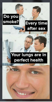 Memes, Sex, and Time: Do you  smoke? Every time  after sex  Your lungs are in  perfect health