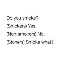 Girl Memes, Yes, and One: Do you smoke?  (Smokers) Yes.  (Non-smokers) No  (Stoners) Smoke what? which one are you?