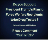 """Do you support President Trump's plan to force #Welfare Recipients to be drug tested?: Do you Support  President Trump's Plan to  Force Welfare Recipients  to be Drug Tested?  Nation in Distress-AFF MediaInc.  Please Comment  """"Yes"""" or """"No"""" Do you support President Trump's plan to force #Welfare Recipients to be drug tested?"""