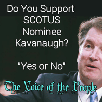 "Memes, Voice, and 🤖: Do You Support  SCOTUS  Nominee  Kavanaugh?  ""Yes or No""  Che Voice of the Touls  ihe乂01ce of the l.eople"