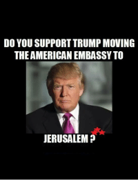 Memes, 🤖, and The Americans: DO YOU SUPPORT TRUMP MOVING  THE AMERICAN EMBASSY TO  JERUSALEM
