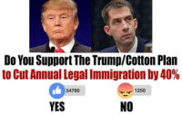Senator Tom Cotton just introduced Trump's immigration proposal through the Senate! Sign the petition SUPPORTING the bill HERE: https://www.numbersusa.com/petition?id=17446: Do You SupportThe TrumplCotton Plan  to Cut Annual Legal Immigration by 40%  1250  54700  NO  YES Senator Tom Cotton just introduced Trump's immigration proposal through the Senate! Sign the petition SUPPORTING the bill HERE: https://www.numbersusa.com/petition?id=17446