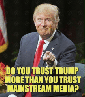 Mainstream Media: DO YOU TRUST TRUMP  MORE THAN YOU TRUST  MAINSTREAM MEDIA