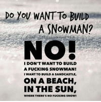 😂☃☀️  AP: DO YOU WANT To BUILD  A SNOWMAN?  NO!  I DON'T WANT TO BUILD  A FUCKING SNOWMAN!  I WANT TO BUILD A SANDCASTLE,  ON A BEACH,  IN THE SUN,  WHERE THERE'S NO FUCKING SNOW! 😂☃☀️  AP