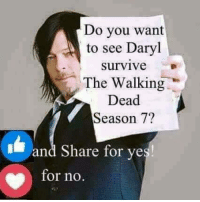 Memes, The Walking Dead, and Walking Dead: Do you want  to see Daryl  survive  The Walking  Dead  Season 7?  and Share for yes  for no ~ buttons