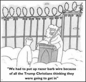 "Justified, Trump, and All The: DO00000099  ""We had to put up razor barb wire because  of all the Trump Christians thinking they  were going to get in"" At Least this Wall is Justified..."